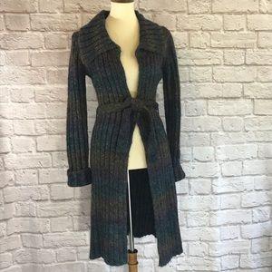 Bebe long rib knit cardigan, brown/wine/navy, M